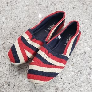 Mad Love red white blue stripe slip on casual shoe
